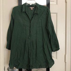 3/$12 White Stag Green Button Down Shirt Sz 16/18